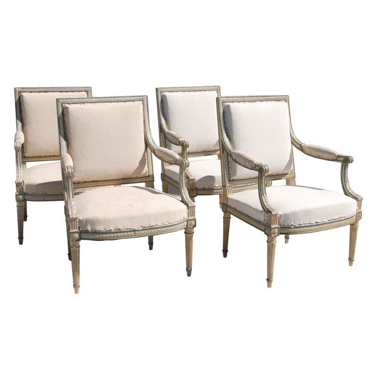 Set of Four Louis XVI Painted Fauteuils Attributed Claude Sene at ...