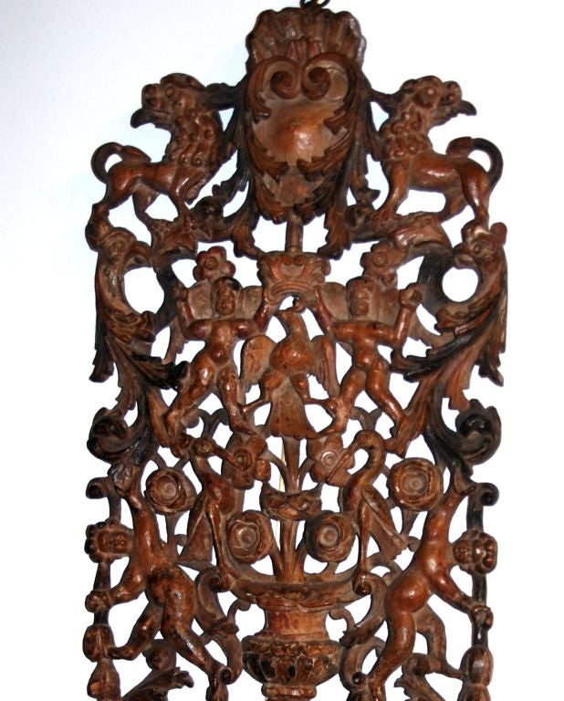 An Unusual Continental Carved Wall Bracket In Good Condition For Sale In Sheffield, MA