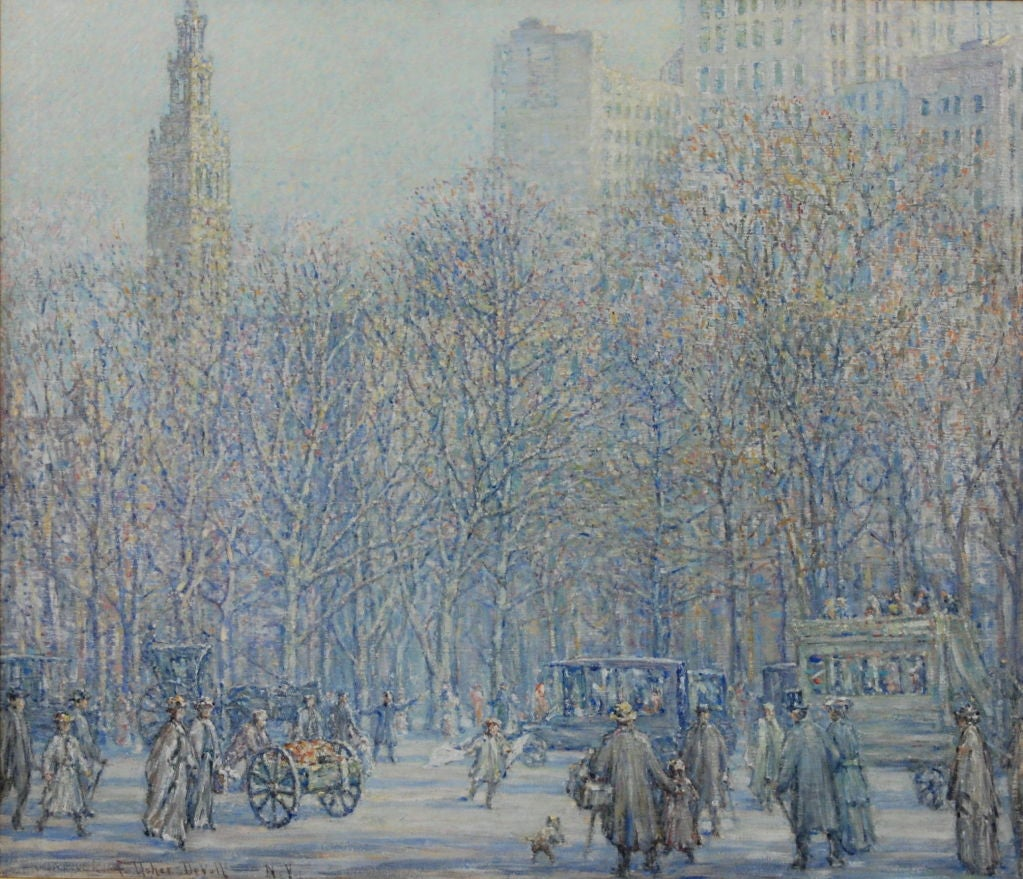 """Frank Usher De Voll <br /> American, 1873-1941 <br />  <br /> """"Madison Square Tower and Park"""" <br />  <br /> Oil on canvas <br />  <br /> 35 1/2 by 42 in. <br /> W/frame 45 1/2 by 52 in. <br />  <br />       Frank Usher De Voll studied at"""