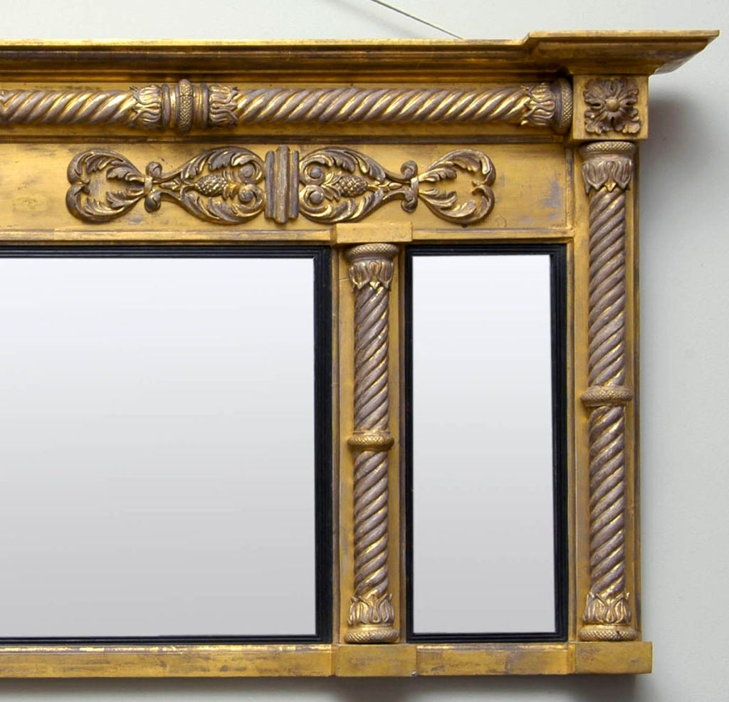 Carved English Regency Overmantel Mirror For Sale