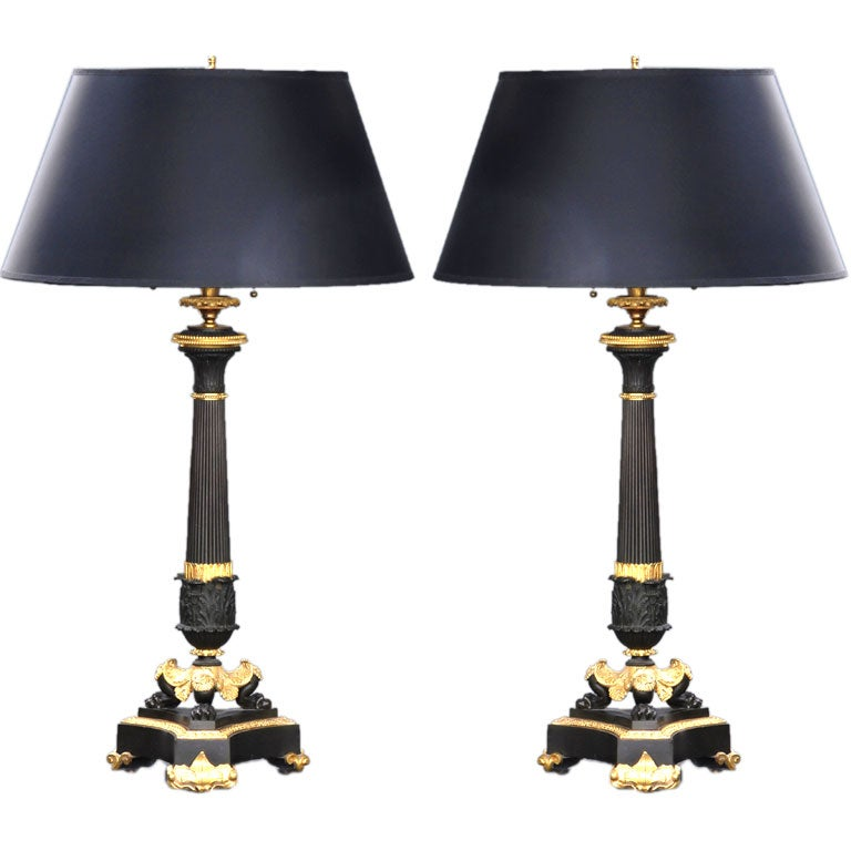 French Pair of Bronze and Ormolu Lamps