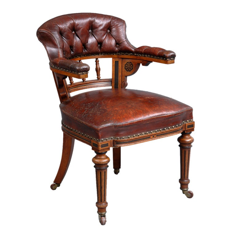 English Victorian Oak Desk Chair At 1stdibs