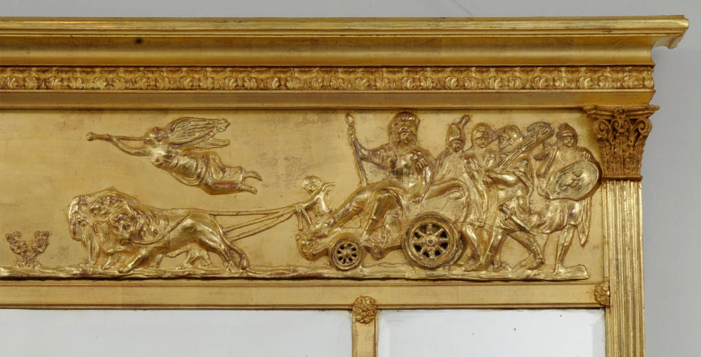 English Giltwood Overmantel Mirror In Excellent Condition For Sale In Sheffield, MA