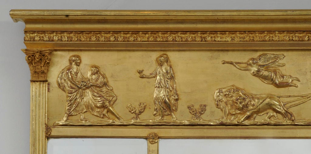 Victorian English Giltwood Overmantel Mirror For Sale