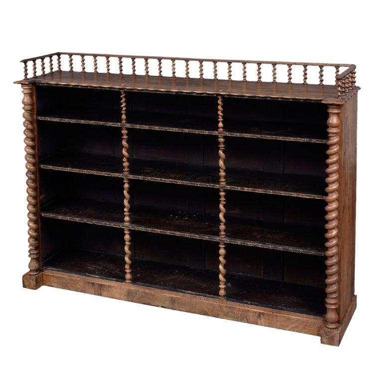 English Walnut Open Bookcase