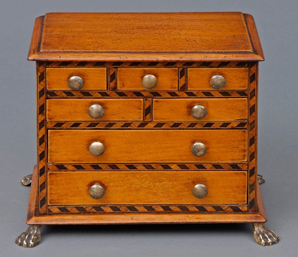 Miniature mahogany apprentice chest of drawers with inlaid ebonized chevron pattern around drawers, brass knobs and brass hairy paw feet.
