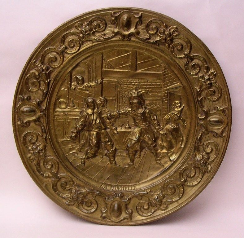 Brass Wall Plates Decor : Pair of large brass decorative plates at stdibs