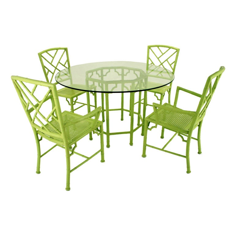 Avocado faux bamboo enameled metal outdoor table and for Metal patio table and chairs