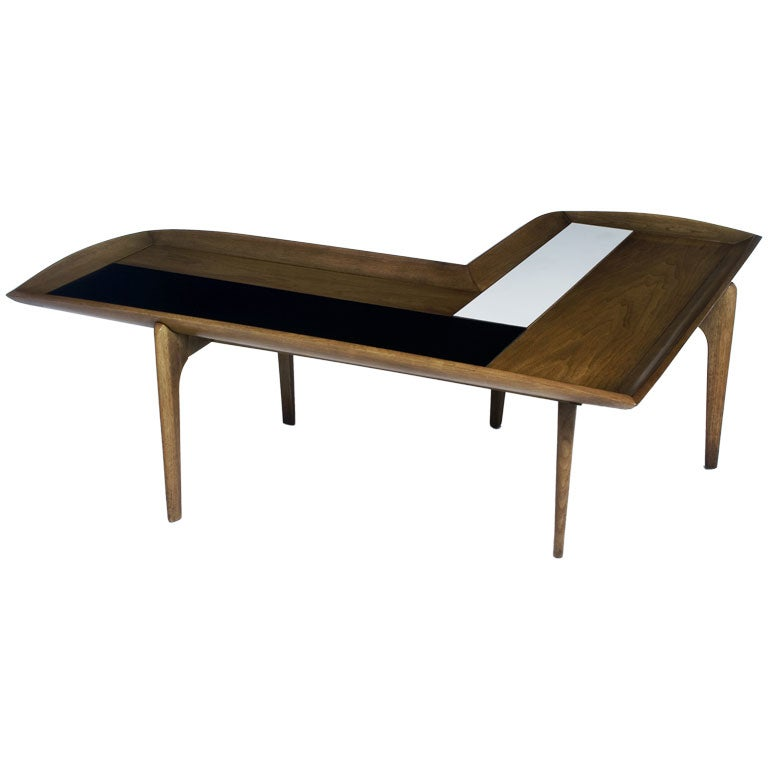 L Shape Wood Black And White Block Coffee Table At 1stdibs