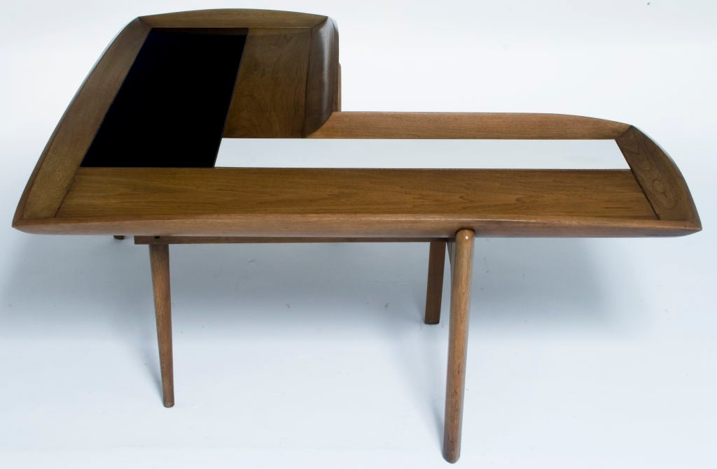 L Shaped Coffee Table Wood L Shape Wood Black And White Block Coffee Table At 1stdibs L Shape