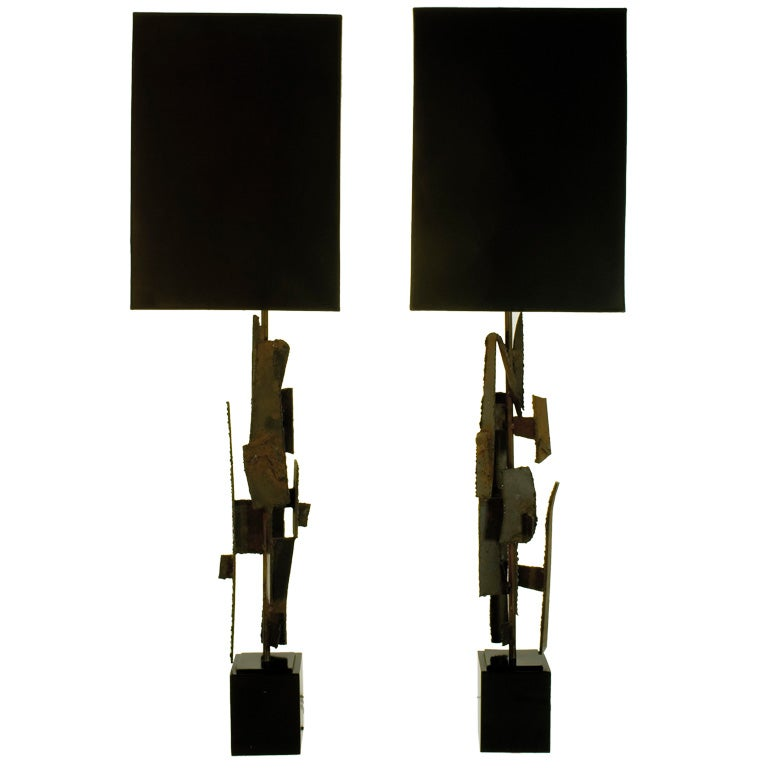 A Pair Of Steel Lamps By Maurizio Tempestini For Laurel At