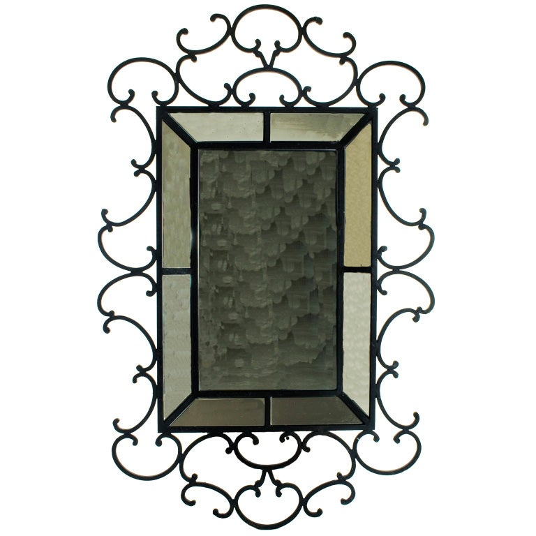 Large wrought iron mirror at 1stdibs for Wrought iron mirror