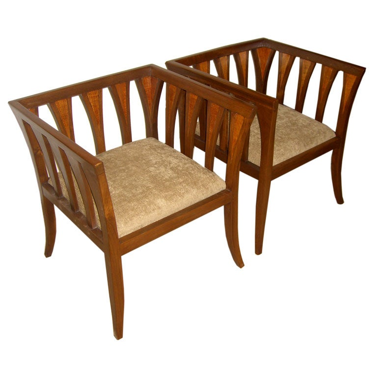 A Pair Of Eliel Saarinen Inspired Chairs In Walnut And