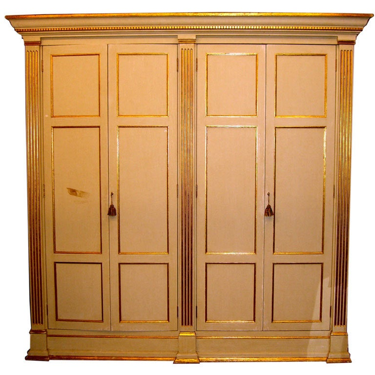 Custom made armoire or entertainment center with real gilt for Entertainment armoire