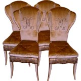 4 fabulous designer high mini wing back chairs in Fortuny fabric