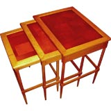 Set of Widdicomb nesting tables with leather patched tops