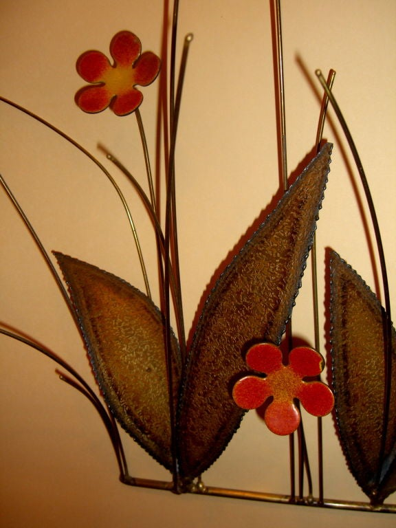 A Beautiful 60 S Kinetic Wall Sculpture Bronze And Enamel
