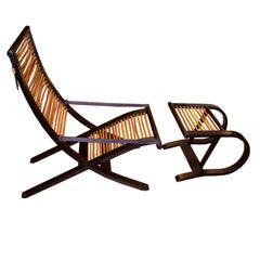 David Colwell Trannon C1 Reclining Lounge Chair and Ottoman Rattan