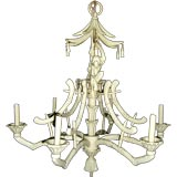 Iron chandelier with bamboo shaped arms & monkey or chimpanzee