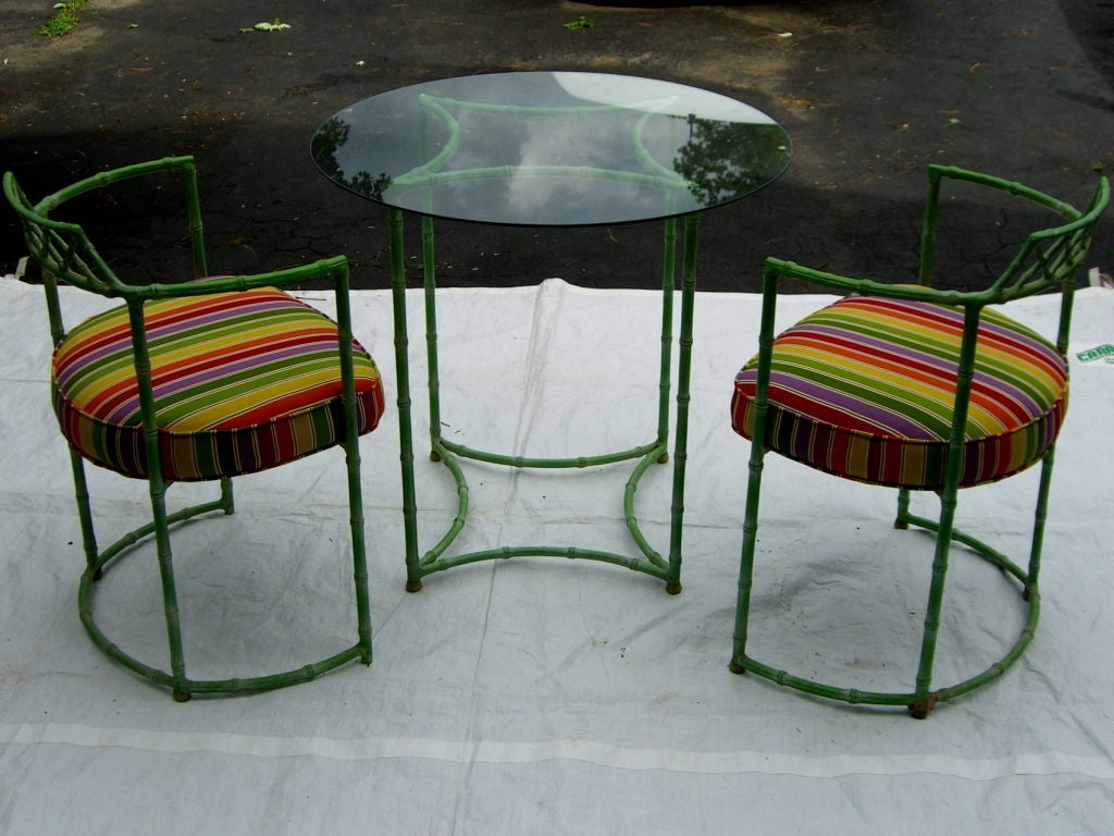 Faux Bamboo Aluminum Patio Set Painted A Nice Lime Green
