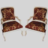 1920's Queen Anne style lacquered white chairs w/ toile fabric