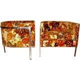 Mint pr Harvey Probber chairs original Jack Lenor Larsen fabric