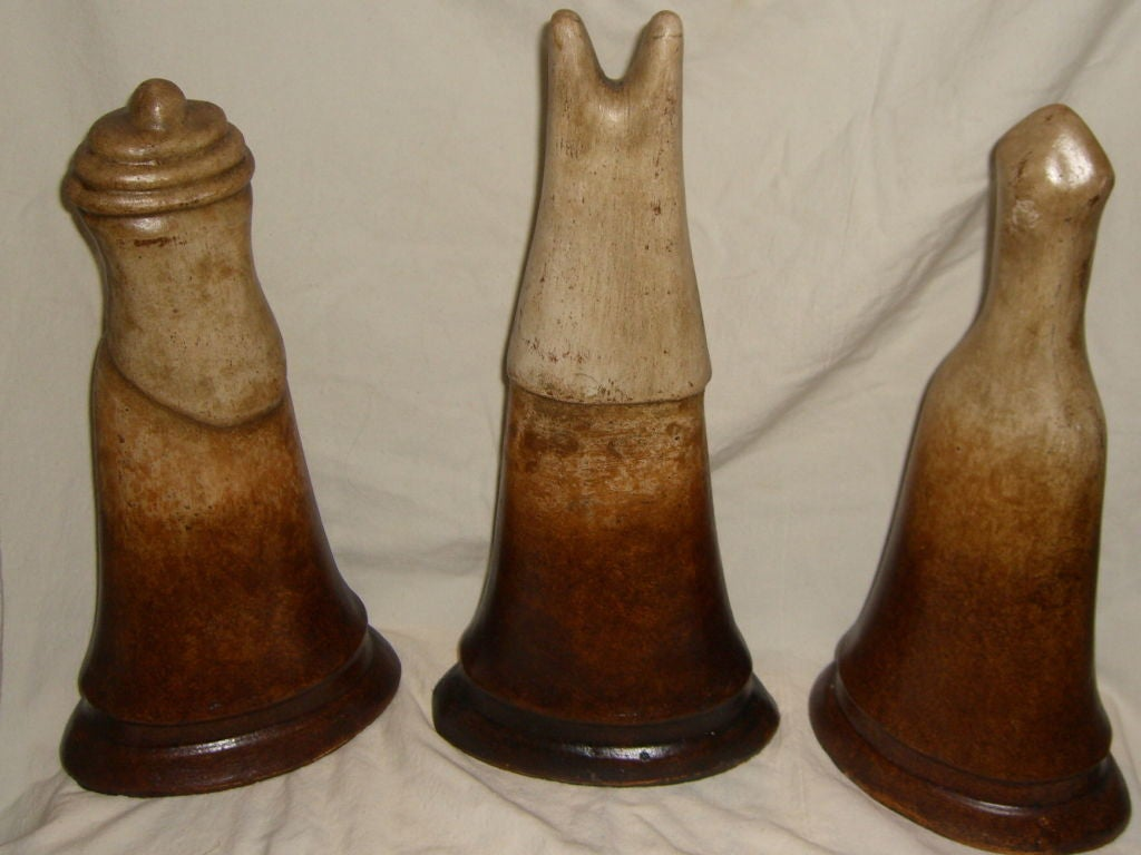 3 Unique Hand Made Terracotta Figures Probably Chess