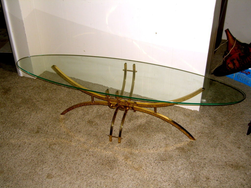 Vintage 1980 39 S Surfboard Glass Shaped Top Brass Coffee Table At 1stdibs