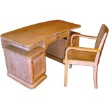 Beautiful period art deco desk and chair with cerused oak finish