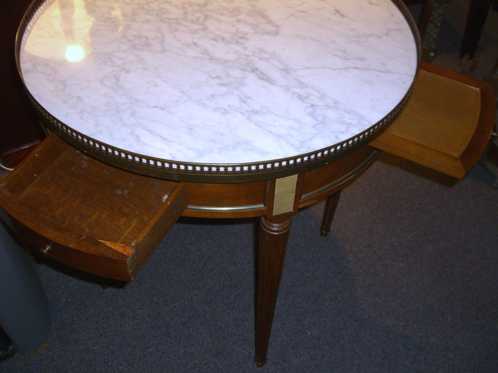 Nice french style 1940 39 s white carrara marble top table for Nice table styles