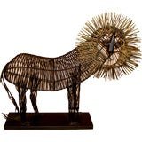 Whimsical 1970's hand welded sculpture of a lion w/gold mane
