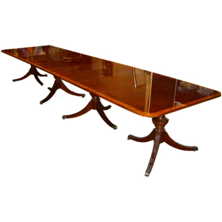 pedestal ft satinwood banded sheraton style dining table at