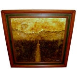 Beautiful heavy impasto abstract landscape painting signed Nong