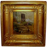 Oil of chickens in yard initialed EF dated 1903 great old frame