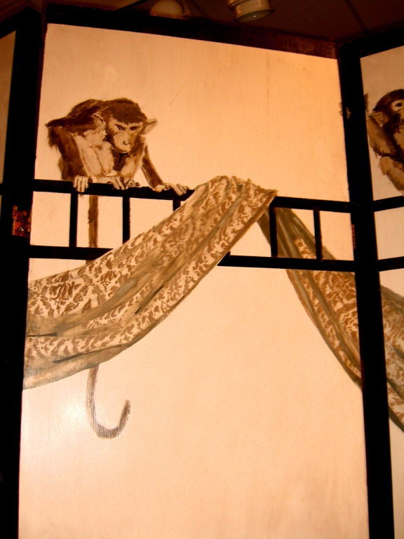 French Hand-Painted Signed Screen Background with Monkeys in a Band 5