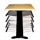 Leather covered lacquered black and white magazine rack