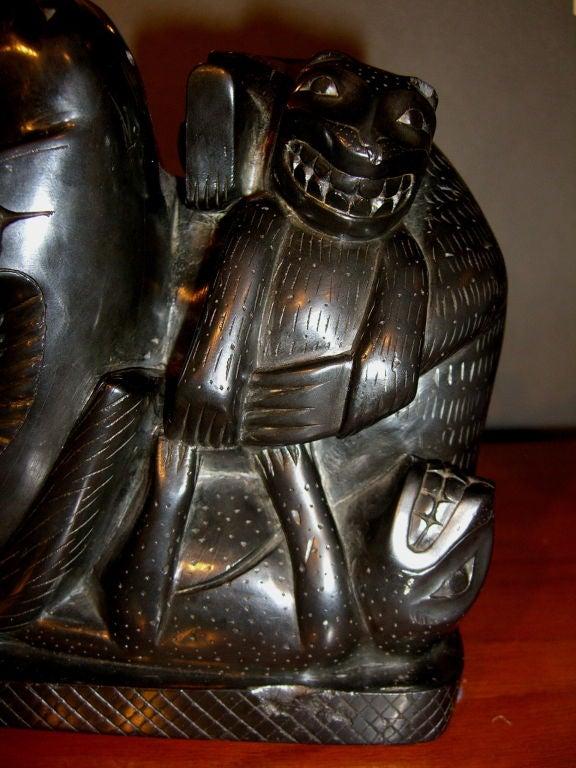 Rare haida inuit figural argillite carving dated autumn of
