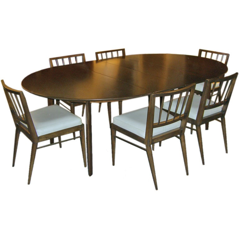 1950 39 s edward wormley for dunbar walnut dining table 6 chairs