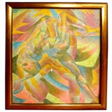 Great Cubist oil on canvas nude male figure signed
