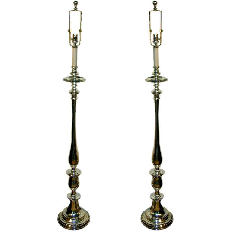 Pair nickel plated steel torchieres by ralph lauren at 1stdibs for Ralph lauren floor lamp brass