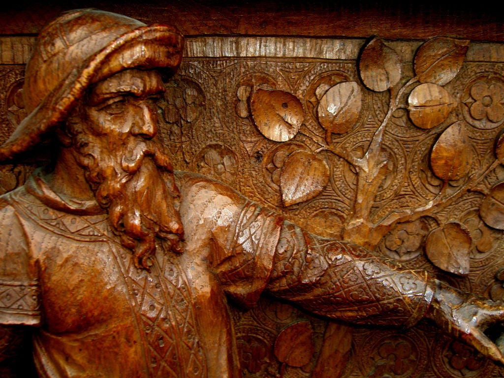 Remarkable hand carved oak deep relief saints ansgar