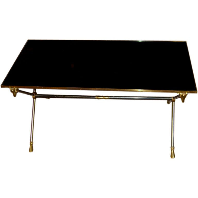 Ram 39 S Head Bronze And Black Glass Coffee Table Style Of Jansen At 1stdibs