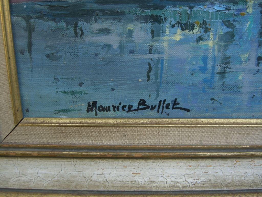 Marine Oil Canvas Painting Noted French Artist Maurice Buffet In Good Condition For Sale In Palm Springs, CA