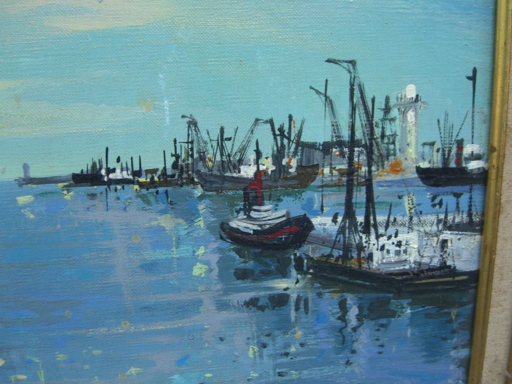Mid-20th Century Marine Oil Canvas Painting Noted French Artist Maurice Buffet For Sale