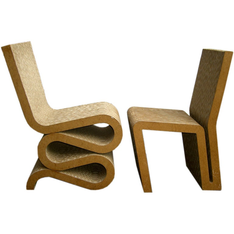 Pair Of Frank Gehry Easy Edge Cardboard Chairs At Stdibs - Frank gehry furniture