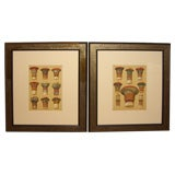 Pr of hand colored 19th Century German architectural Lithographs