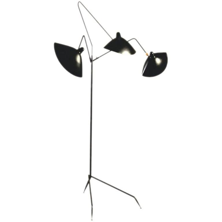 serge mouille 3 arm standing lamp at 1stdibs. Black Bedroom Furniture Sets. Home Design Ideas