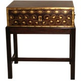 British Colonial Rosewood and Inlaid Brass Document Box On Stand