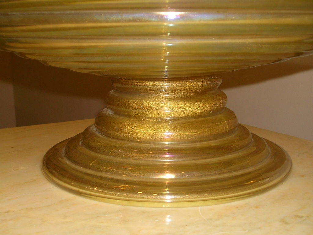 S overscaled lemon gold murano centerpiece bowl at