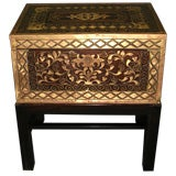 Huge 19th C Anglo-Indian Inlaid Brass Box On Stand Side Table